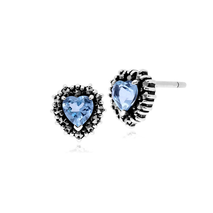 Classic Heart Blue Topaz & Marcasite Halo Heart Stud Earrings in 925 Sterling Silver