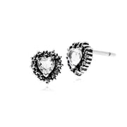 Gemondo Sterling Silver Clear Topaz & Marcasite Heart Stud Earrings