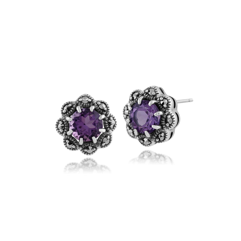 Art Nouveau Style Round Amethyst & Marcasite Stud Earrings in 925 Sterling Silver