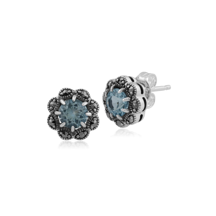 Floral Round Blue Topaz & Marcasite Cluster Stud Earrings in 925 Sterling Silver