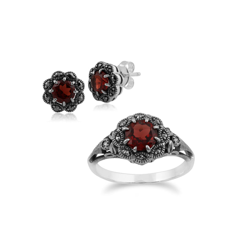 Art Nouveau Style Round Garnet & Marcasite Floral Stud Earrings & Ring Set in 925 Sterling Silver