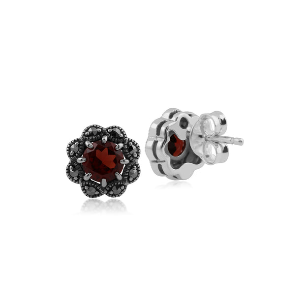 Floral Round Garnet & Marcasite Cluster Stud Earrings in 925 Sterling Silver