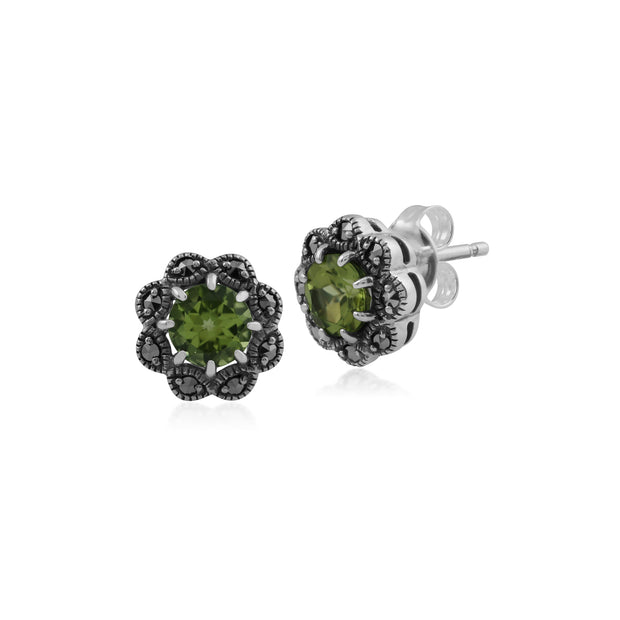 Floral Round Peridot & Marcasite Cluster Stud Earrings in 925 Sterling Silver