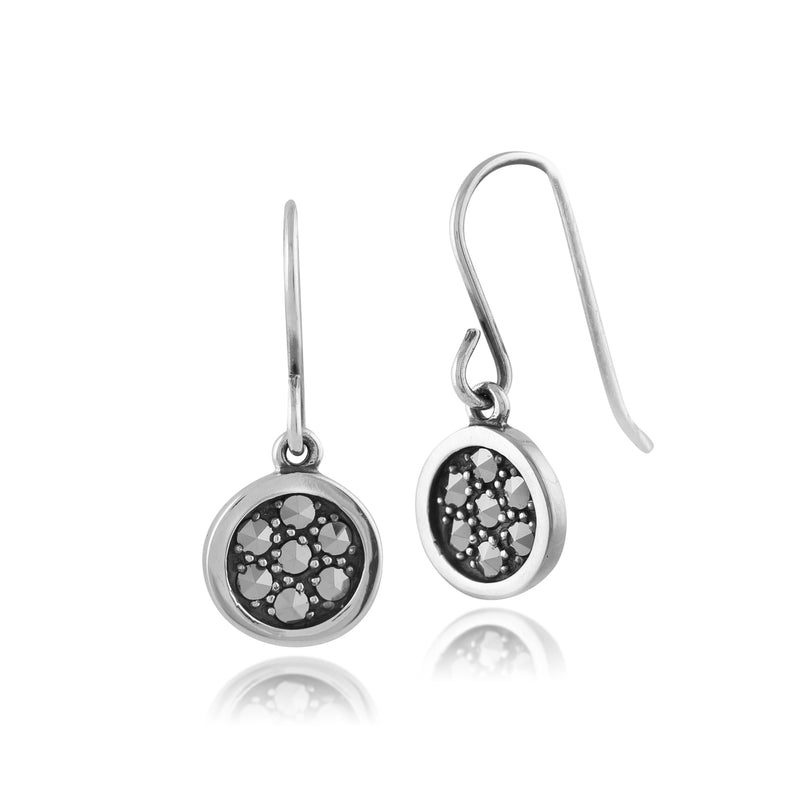 Classic Round Pave Set Marcasite Drop Earrings in 925 Sterling Silver