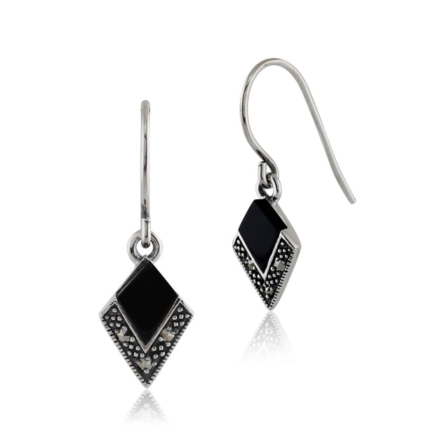 Art Deco Style Black Onyx & Marcasite Drop Earrings in 925 Sterling Silver