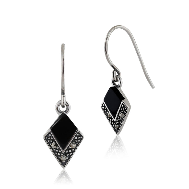 Art Deco Black Onyx & Marcasite Kite Drop Earrings & Pendant Set Image 2