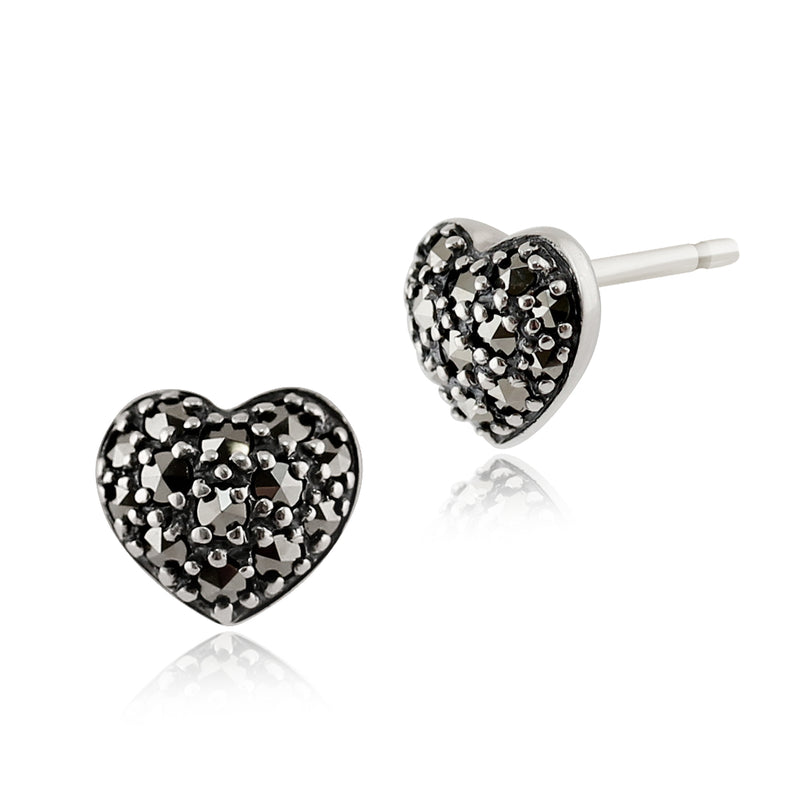 Classic Round Marcasite Pave Set Heart Stud Earrings in 925 Sterling Silver