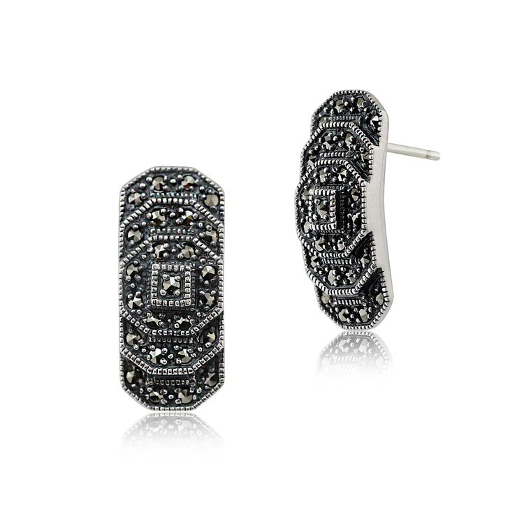 Art Deco Style Round Marcasite Stepped Stud Earrings in 925 Sterling Silver