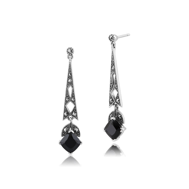 Art Deco Style Cushion Black Spinel & Marcasite Drop Earrings in 925 Sterling Silver