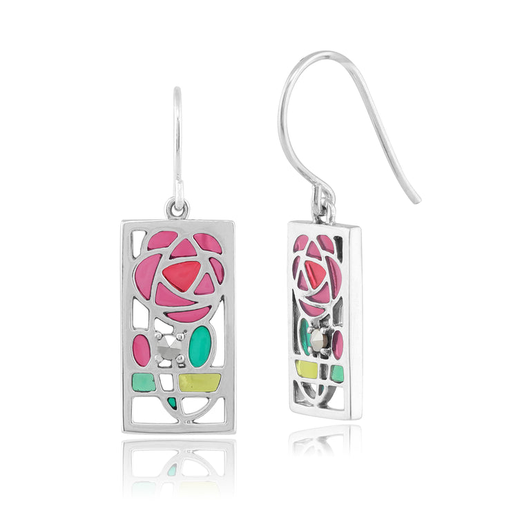 Rennie Mackintosh Round Marcasite & Enamel Rose Drop Earrings in 925 Sterling Silver