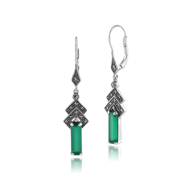 Art Deco Style Rectangle Green Chalcedony & Marcasite Drop Earrings in 925 Sterling Silver