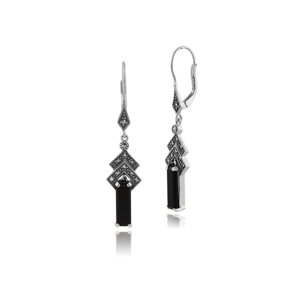 Art Deco Style Rectangle Black Onyx & Marcasite Drop Earrings in 925 Sterling Silver