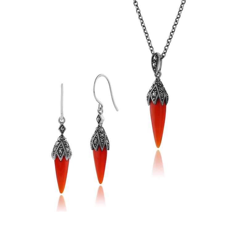 Art Deco Red Carnelian & Marcasite Pointed Drop Earrings & Pendant Set Image 1
