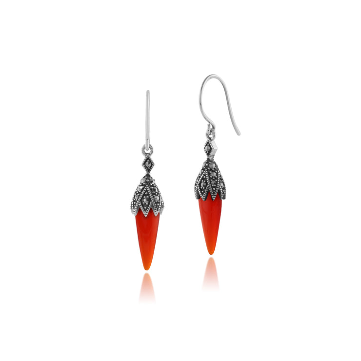 Art Deco Red Carnelian & Marcasite Pointed Drop Earrings & Pendant Set Image 2
