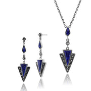 Art Deco Lapis Lazuli & Marcasite Triangle Drop Earrings & Pendant Set Image 1