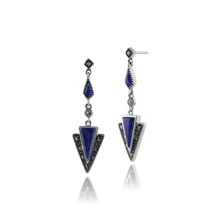Art Deco Lapis Lazuli & Marcasite Triangle Drop Earrings & Pendant Set Image 2