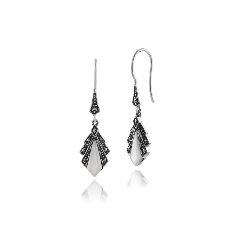 Art Deco Style Diamond Mother of Pearl & Marcasite Drop Earrings in 925 Sterling Silver