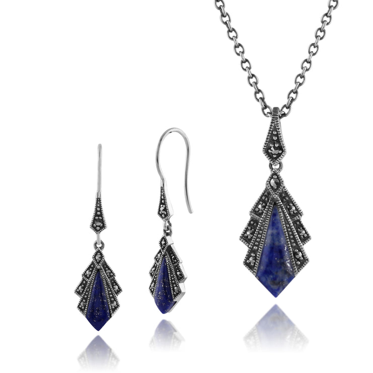 Art Deco Lapis Lazuli & Marcasite Fan Drop Earrings & Pendant Set Image 1