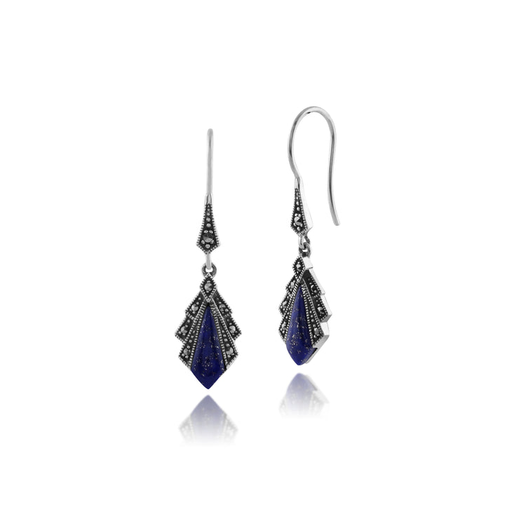 Art Deco Style Diamond Lapis Lazuli & Marcasite Drop Earrings in 925 Sterling Silver