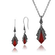 Art Deco Carnelian & Marcasite Fan Drop Earrings & Pendant Set Image 1