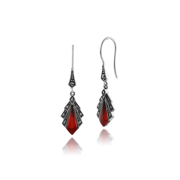 Art Deco Style Diamond Carnelian & Marcasite Drop Earrings in 925 Sterling Silver
