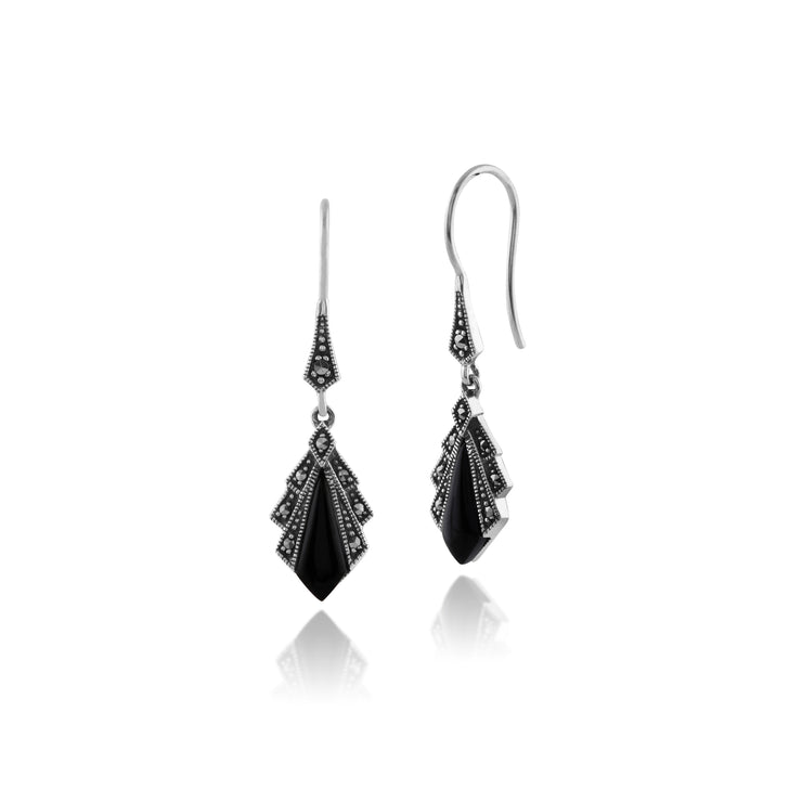 Art Deco Style Diamond Black Onyx & Marcasite Drop Earrings in 925 Sterling Silver
