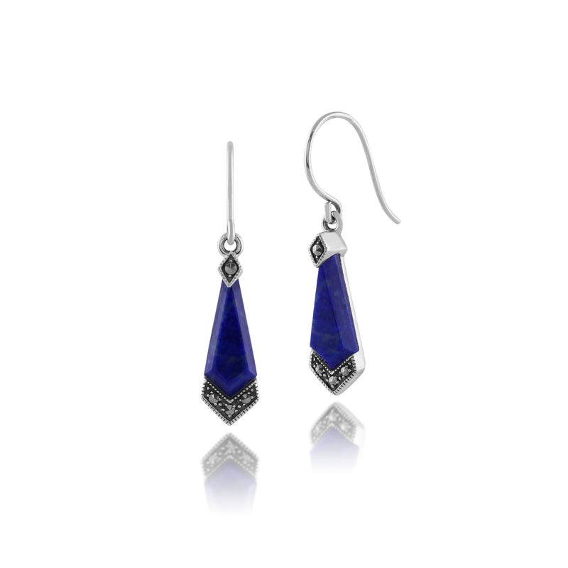 Art Deco Style Diamond Lapis Lazuli Cabochon & Marcasite Drop Earrings in 925 Sterling Silver