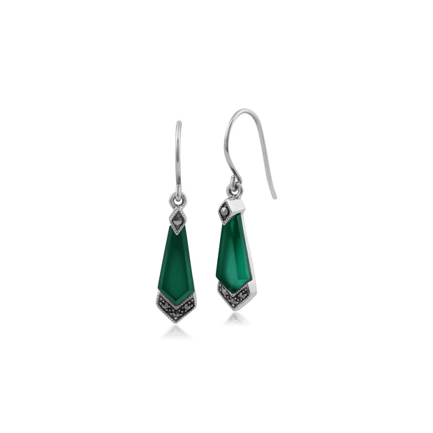 Art Deco Style Green Chalcedony & Marcasite Kite Drop Earrings in 925 Sterling Silver