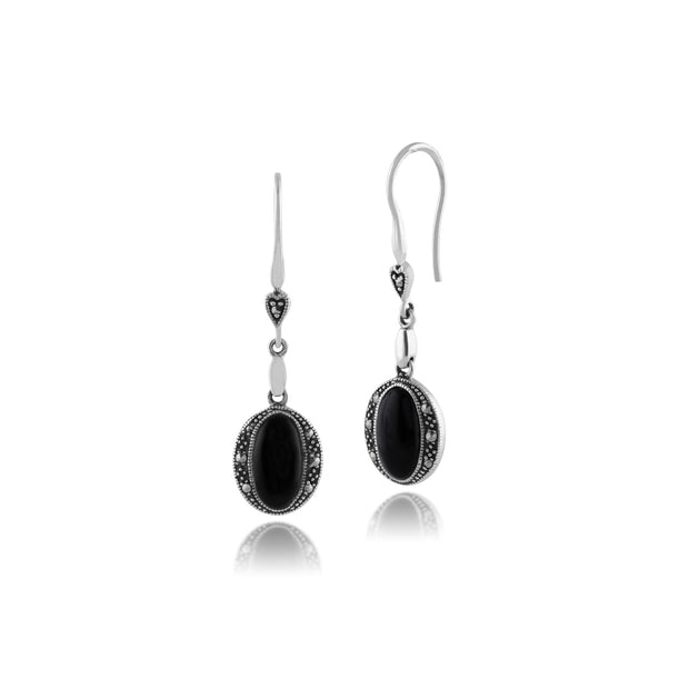 Art Deco Style Oval Black Onyx & Marcasite Drop Earrings in 925 Sterling Silver