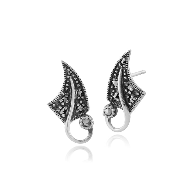Art Nouveau Style Round Marcasite Leaf Stud Earrings in 925 Sterling Silver