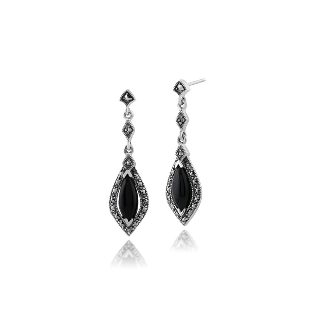 Art Deco Marquise Black Onyx & Marcasite Halo Drop Earrings in 925 Sterling Silver