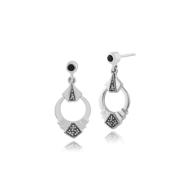 Art Deco Style Black Spinel & Marcasite Ring Drop Earrings in 925 Sterling Silver