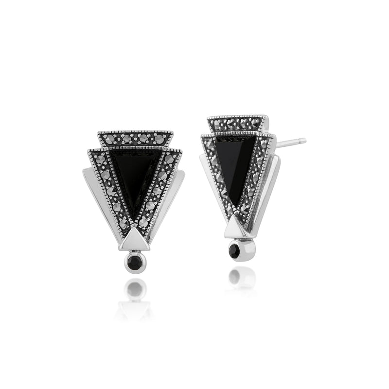 Art Deco Style Black Onyx, Marcasite & Black Spinel Triangle Stud Earrings in 925 Sterling Silver