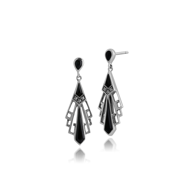 Art Deco Style Round Black Onyx & Marcasite Fan Drop Earrings in 925 Sterling Silver