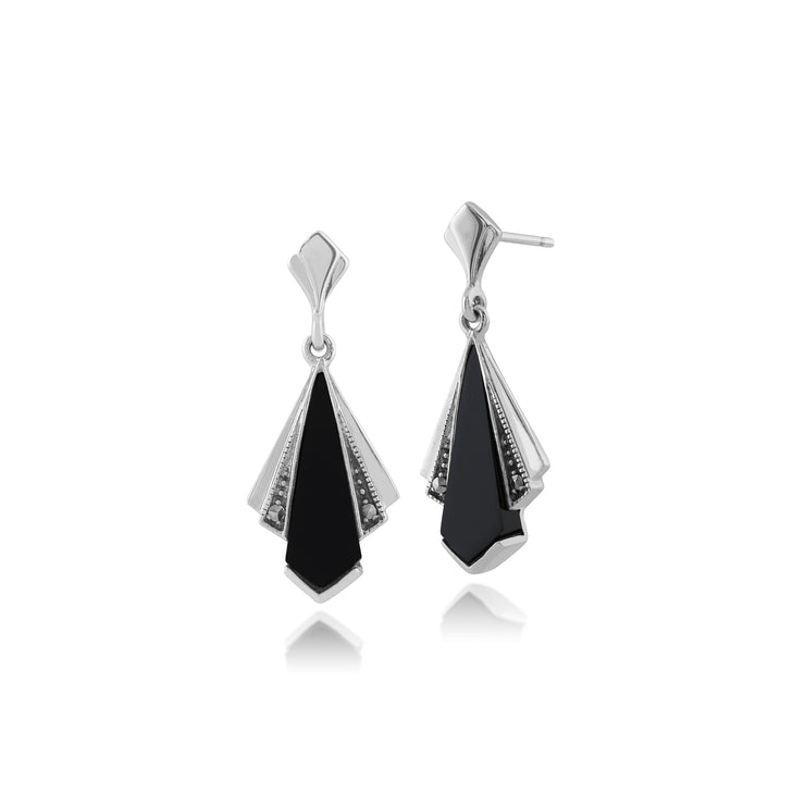 Art Deco Style Black Onyx & Marcasite Fan Drop Earrings in 925 Sterling Silver