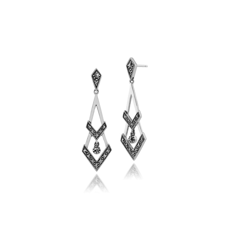Art Deco Style Round Marcasite Open Work Triangular Drop Earrings in 925 Sterling Silver