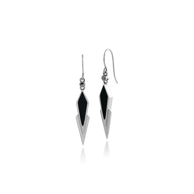 Art Deco Style Black Onyx & Marcasite Triangular Drop Earrings in 925 Sterling Silver