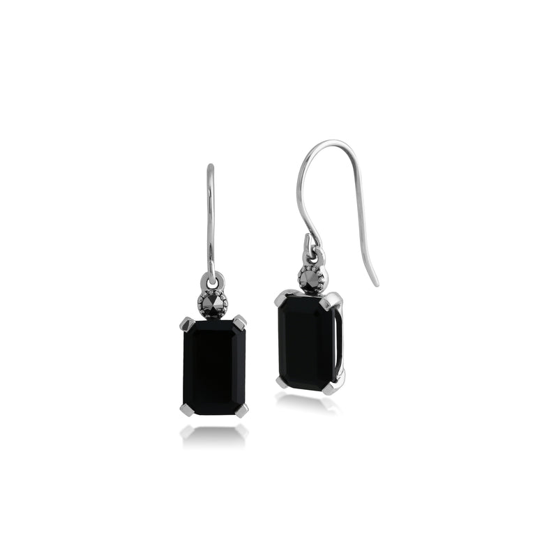 Art Deco Style Octagon Black Onyx & Marcasite Drop Earrings in 925 Sterling Silver