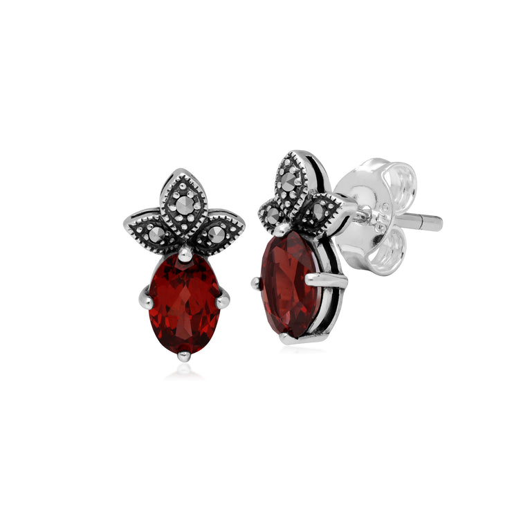 Art Deco Style Oval Garnet & Marcasite Stud Earrings in 925 Sterling Silver