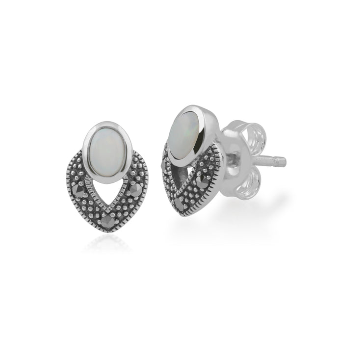 Art Deco Style Oval Opal & Marcasite Stud Earrings in 925 Sterling Silver