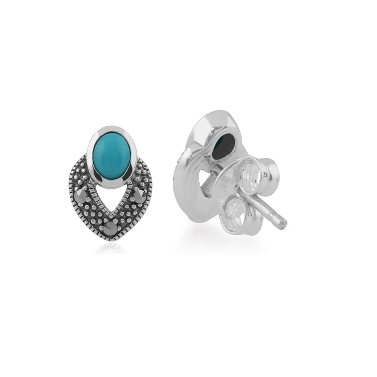 Art Deco Style Oval Turquoise & Marcasite Stud Earrings in 925 Sterling Silver