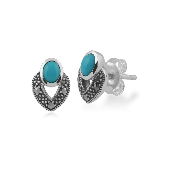 Art Deco Style Oval Turquoise & Marcasite Stud Earrings & Pendant Set in 925 Sterling Silver