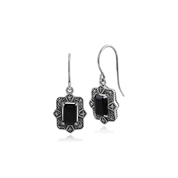 Art Deco Style Octagon Black Spinel & Marcasite Drop Earrings in 925 Sterling Silver