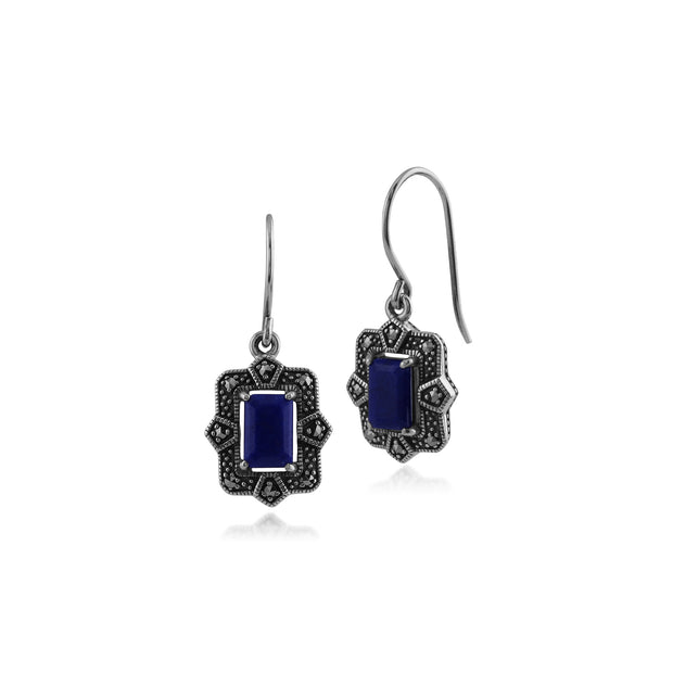 Art Deco Style Octagon Lapis Lazuli & Marcasite Drop Earrings in 925 Sterling Silver
