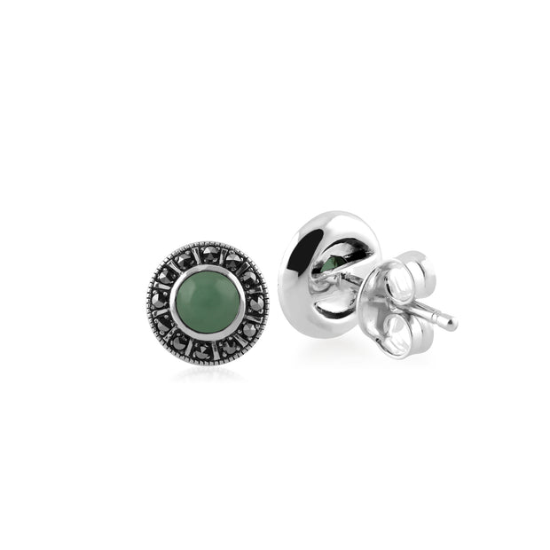Art Deco Style Round Green Jade & Marcasite Halo Stud Earrings in 925 Sterling Silver