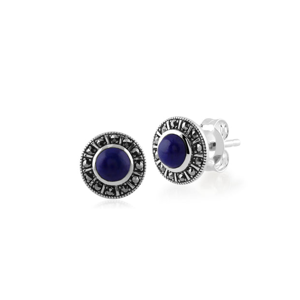 Art Deco Style Round Lapis Lazuli & Marcasite Halo Stud Earrings in 925 Sterling Silver