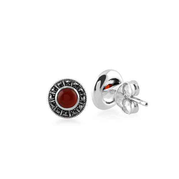 Art Deco Style Round Red Carnelian & Marcasite Halo Stud Earrings in 925 Sterling Silver