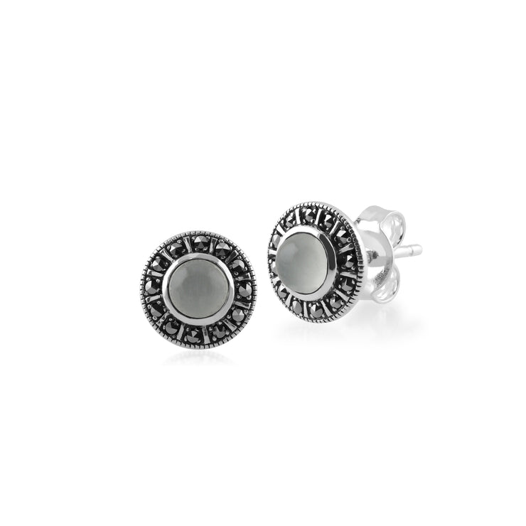 Art Deco Style Round Milky Aquamarine & Marcasite Halo Stud Earrings in 925 Sterling Silver