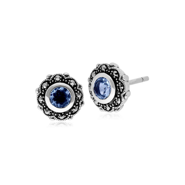 Art Nouveau Style Round Blue Topaz & Marcasite Floral Stud Earrings in 925 Sterling Silver