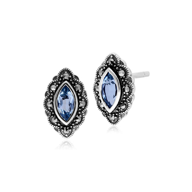 Art Nouveau Marquise Blue Topaz & Marcasite Stud Earrings in 925 Sterling Silver
